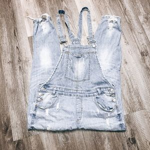 Almost Famous ripped jean over alls